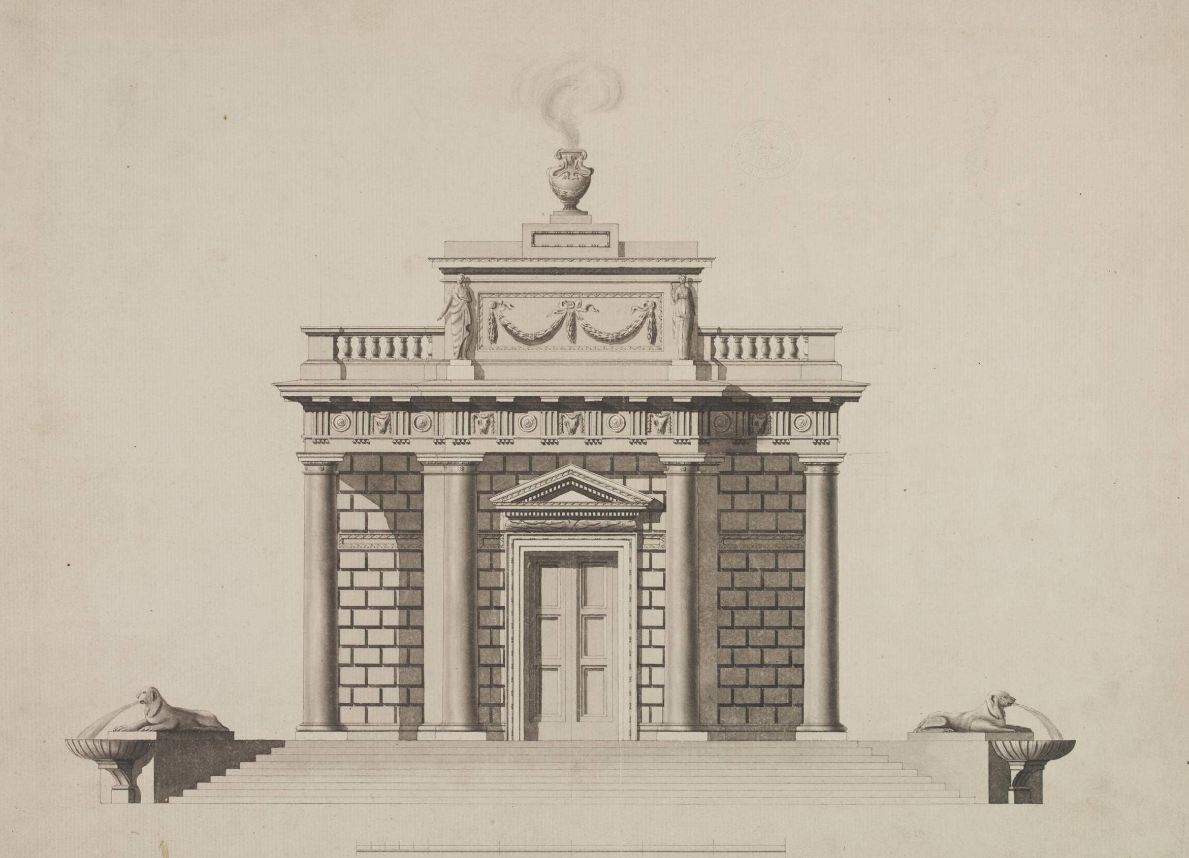 Elevation showing the entrance front of the Casino at Marino House, County Dublin for the 1st Earl of Charlemont, 18th century, Sir William Chambers (1723-1796). The Victoria and Albert Museum. This illustration is a version of the plate which appeared in Chambers' Treatise on Civil Architecture (1759).