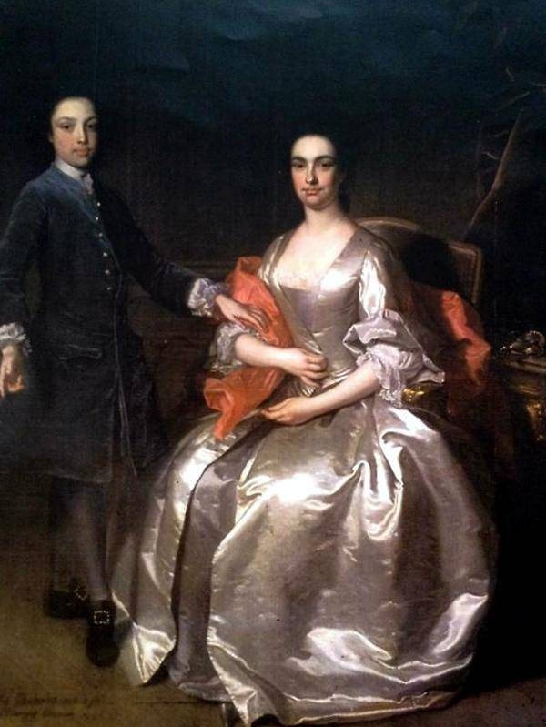 Elizabeth Caulfeild, née Bernard, Viscountess Charlemont, with her son James Caulfeild, 4th Viscount Charlemont. Leixlip Castle.