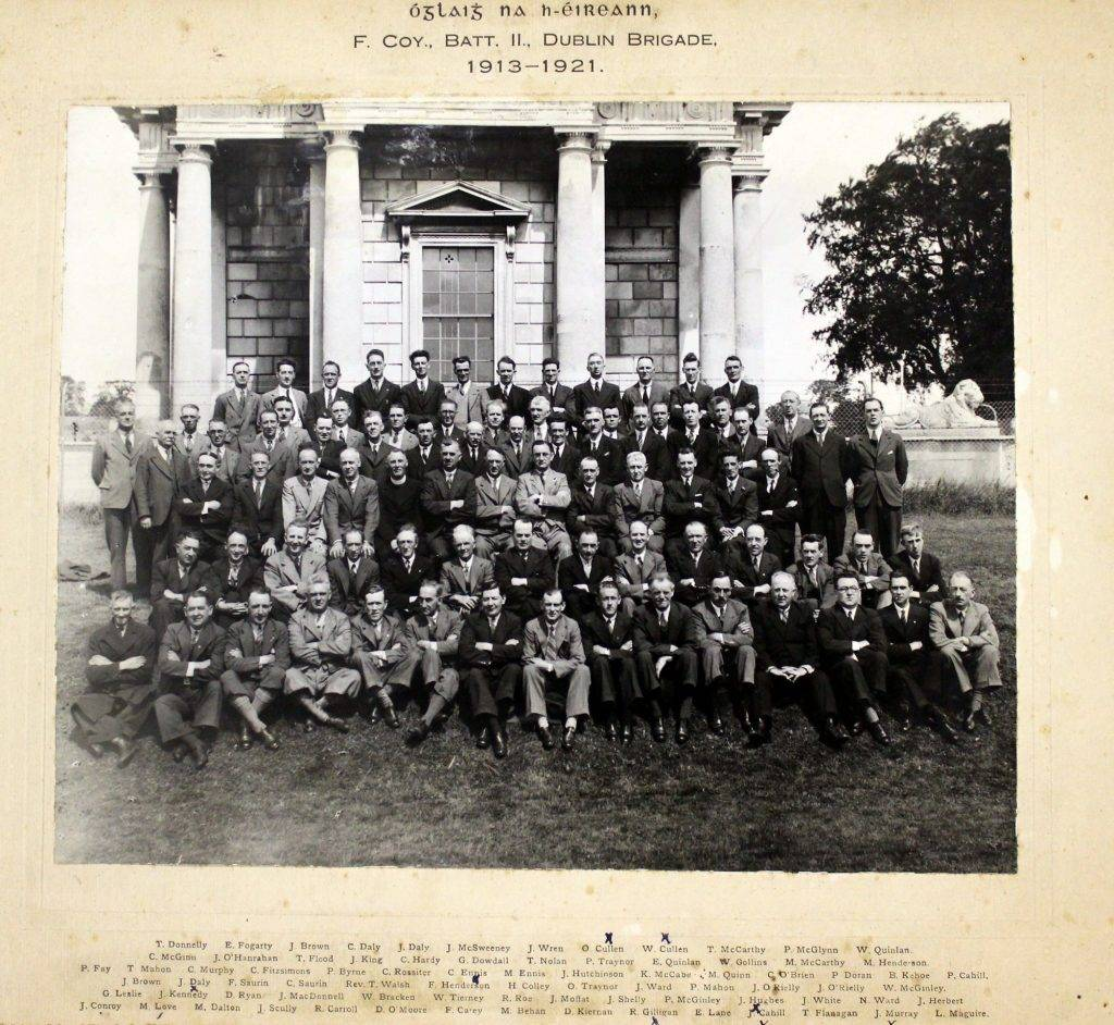 Black and white photograph of Óglaigh na Éireann (Irish Volunteers), F Company, 2nd Battalion, Dublin Brigade (1913-1921). IE/AL/IMG/375 [c.1941-1966]. The Allen Library.